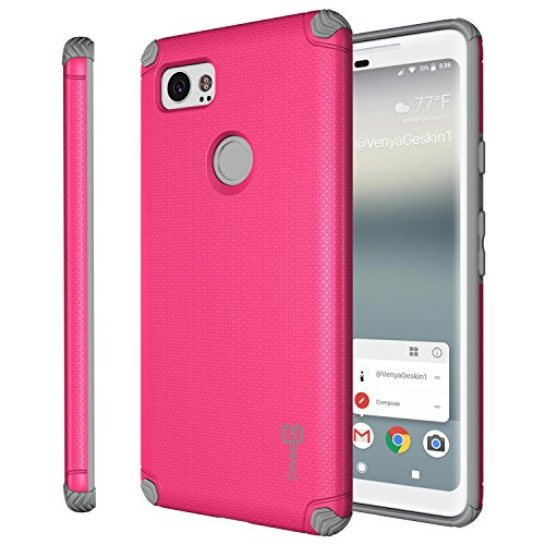Google Pixel 2 XL Magnetic Case, CoverON Bios Series Minimalist Slim Fit Hard Protective Cover with Embedded Magnet Plate for Car Mounts for Pixel 2 XL / 2XL - Pink and Gray