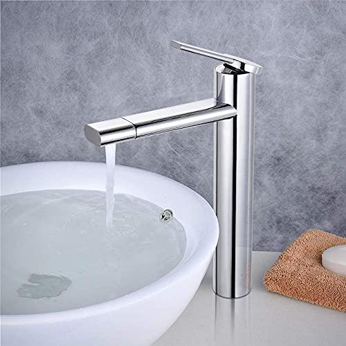 Wasserhahn Bad hoch, Dalmo 360° drehbar Waschtischarmatur, Wasserhahn Badezimmer Waschbecken mit Geräuscharmem Keramischem Ventilkern, Heißes und Kaltes Wasser Vorhanden
