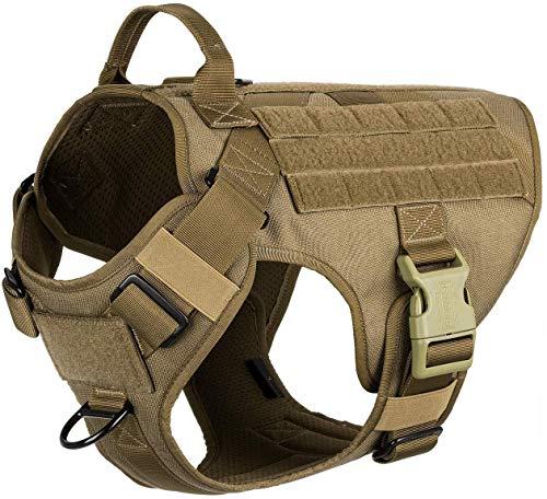 Arnés táctico ligero para perro con asa, chaleco Molle de entrenamiento de trabajo K9, clip frontal sin tirar, gancho y panel de lazo para identificación de perro parche personalizado