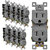 ENERLITES Tamper-Resistant Child Safe Duplex Receptacle Outlet, Residential Grade, 3-Wire, Self-Grounding, 2-Pole, 15A 125V, UL Listed, 61580-TR-GY-10PCS, Gray (10 Pack)
