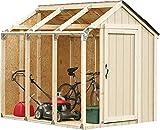 Outdoor Garten Aufbewahrungsschuppen grundlegend Geflochtene Kit, Spitzendach,Wood color