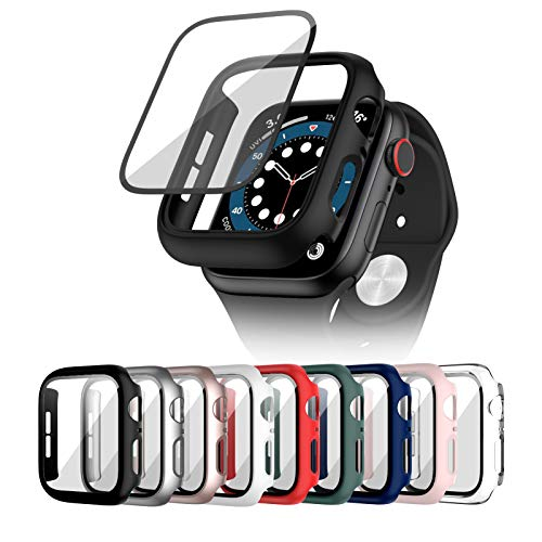 Cuteey 9 Pack for Apple Watch SE Series 6 5 4 40mm Hard Case with Built-in Tempered Glass Screen Protector, Overall Full Protective Bumper PC Cover for iwatch 40mm Accessories