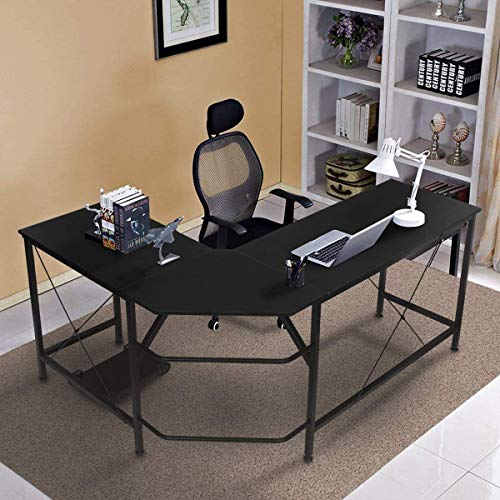 KINGSO L Shaped Computer Desk with CPU Stand,65' Modern Corner Desks for Home Office Workstation Wood & Metal Corner Desk Laptop Writing Desk Table (64' x 47' x 30', Black)
