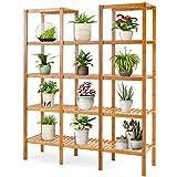 Costway Bamboo Utility Shelf Bathroom Rack Plant Display Stand 5-Tier Storage Organizer Rack Cube W/Several Cell Closet Storage Cabinet (12-Pots)