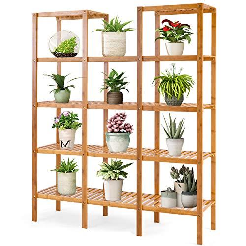COSTWAY Pflanzenregal Bambus, Standregal mit 5 Ebenen, Raumteiler Bücherregal, Badezimmerregal Bambusregal, Treppenregal, Stufenregal für Badezimmer, Wohnzimmer, Küche