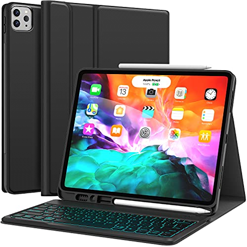 Keyboard for iPad Pro 12.9 2021 5th Generation, iPad Pro 12.9 Case with Keyboard 4th/3rd Generation - 7 Colors Backlit - Detachable - Pencil Holder - Stand Cover -iPad Pro 12.9 inch Keyboard, Black