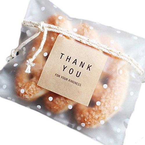Lumanuby 100 Stück Selbstklebend Tüten Umweltfreundlich OPP Beutel Schöne Gefrostet Verpackungs Beutel mit Kleine Flecken, Nizza Zubehör von Bäckerei oder Dessert Shop/DIY, Größe:10 * 10+3cm