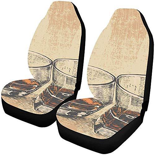 Enoqunt Autostoelbeschermer, 2-delige set, whisky, twee glazen gegraveerde retro-autostoelhoezen, beschermer, auto, reiscar cover