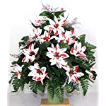 Silk Florals & Frills Cemetery Flower Pot with Red Poinsettias, Poinsettia Cemetery Potted Arrangement, Cemetery Flowers Weighted Pot