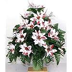 XL-Christmas-Peppermint-Poinsettias-Artificial-Silk-Flower-Cemetery-Bouquet-Vase-Arrangement