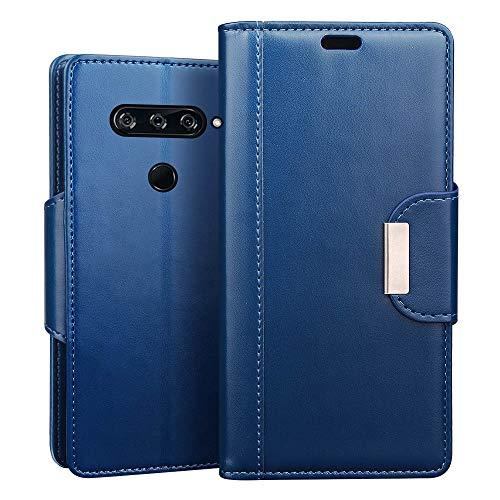 RIFFUE LG V40 ThinQ Hülle, Handyhülle LG V40 ThinQ, Retro PU Leder Flip Case Brieftasche mit Magnetverschluss, Standfunktion, Ultra Weiche Klapphülle für LG V40 Thin Q (6,5 Zoll) - Blau