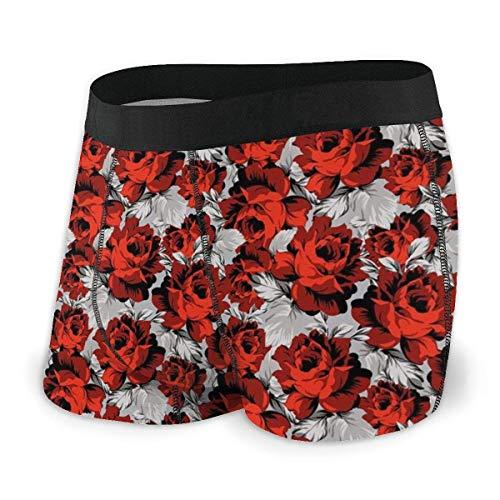 Calzoncillos Boxer para Hombres, Flores Rosas Elementos de diseño Vin
