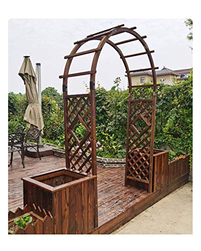 F-XW Wood Archway Garden Arbor Outdoor Rose Arch Trellis with Dual Planters, for Climbing Plants Patio Backyard Pergola, W200cm×H210cm