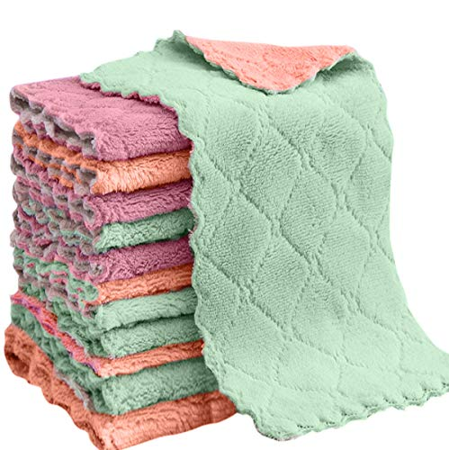 vimihousewares Vimi Microfiber Cleaning Cloth, 12-Pack 6x10Dish Towel, for All-Purpose, Assorted Colors, Strong Absorption Water and Remove The Oil and dust Kitchen Towels