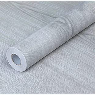 WDragon Self-adhesive PVC Contact Paper Gray Wood Grain Counter Paper Furniture Cabinets Wardrobe Shelf Liner Wallpaper,45cm X 330cm (Light Gray):Netac2