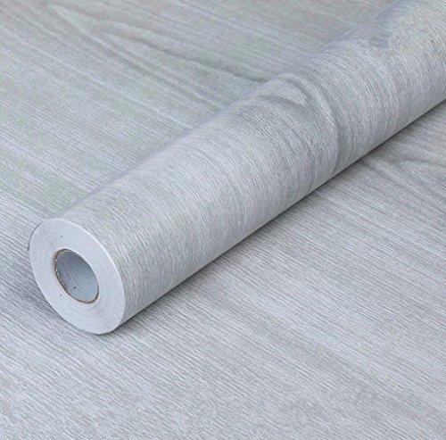 Papel de contacto autoadhesivo de PVC de WDragon, color gris, diseño de madera, para mostrador, muebles, armarios, estante de armario, papel pintado, 45 cm x 249 cm