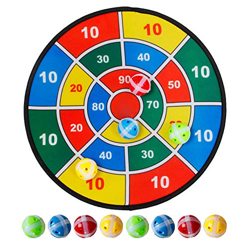 INFILM 14 in Children Darts Board Game, Single-Sided Dartboard with 8 Balls for Kids Family Party Game,Safe & Classic Dart Gift for Boys Girls Ages 3-Year-Old and Up