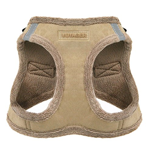 Voyager Step-In Plush Dog Harness – Soft Plush, Step In Vest Harness for Small and Medium Dogs – By Best Pet Supplies - Latte Suede, Medium (Chest: 16' - 18')