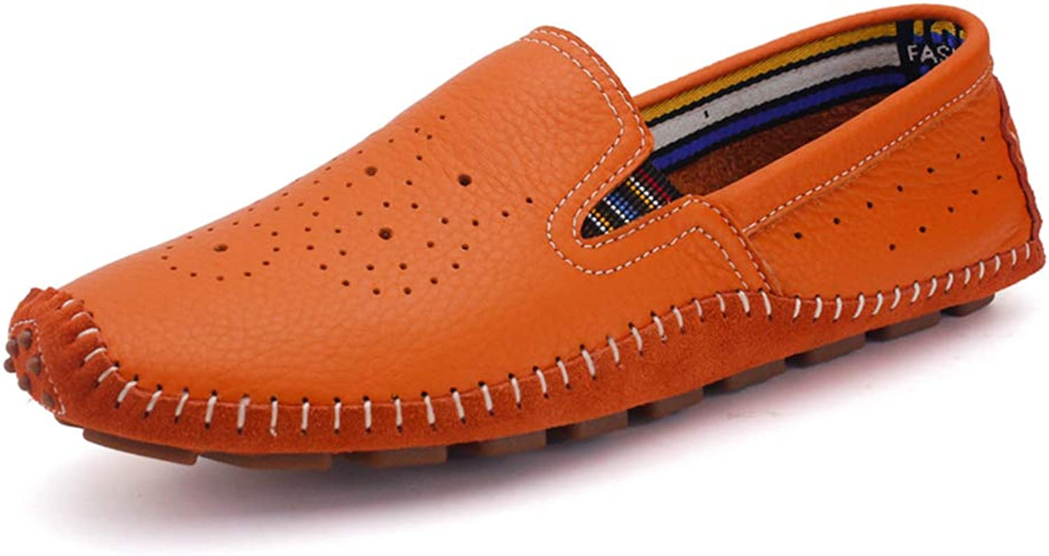 Men's Comfort Loafers Leather Spring Fall Summer Comfort Loafers & Slip-Ons White orange