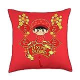 Vietnamese New Year Lucky Money Boys Kids Gift Li Xi Me Please Vietnamese Red Cute Ao Dai Boy Flowers Throw Pillow, 18x18, Multicolor