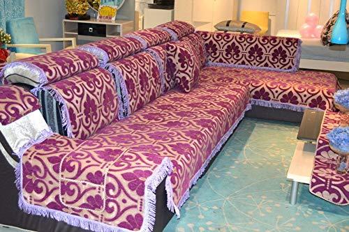 WTT Vier sofakussen/Europese stijl, dikke chenille-sofa-doek/sofakussen in chaiselongue - A 70 x 210 cm (28 x 83 inch)