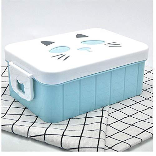 Lqpfx-fh Boîte à déjeuner isolée en plastique pour l'école pour enfants Bento Box Chauffée Femmes Portable Thermo Food Conteneur pour Bureau et Home Lunchbox (Color : Blue)