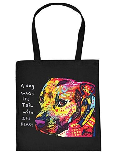 Pitbull Motiv Stofftasche - Hunde Tasche : Gratitude Pitbull - Hunderassen Neon Kunstdruck Baumwolltasche Farbe: schwarz
