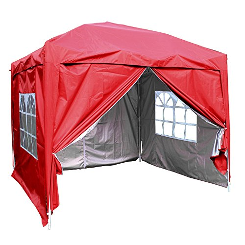 Greenbay Red Heavy Duty Pop-up Gazebo Marquee Canopy with 4 Side Panels and Carrybag - 2.5m x 2.5m