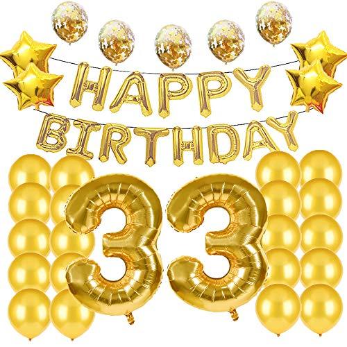 Décorations Pour 33e Anniversaire Ballons en Mylar Doré Numéro 33 Décoration en Latex Idéal Pour les 33 Ans Accessoires Photo