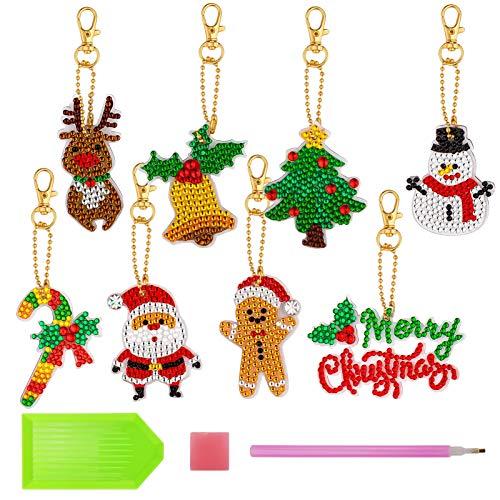 Cieovo 8 Pieces Christmas DIY Diamond Key Chain Kits Rhinestone Mosaic Making Kit 5D Diamond Painting Key Ring Pendant Christmas Tree Santa Claus Full Drill Pendant for DIY Christmas Keychain Decor