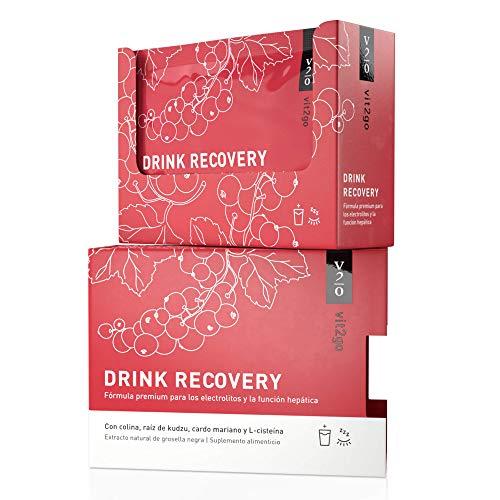 Vit2go DRINK RECOVERY (10 sobres) - Polvo electrolítico, desintoxicación y rehidratación del hígado, polvo de recuperación matutina con vitaminas, colina, raíz de Kudzu, cardo mariano y L-cisteína