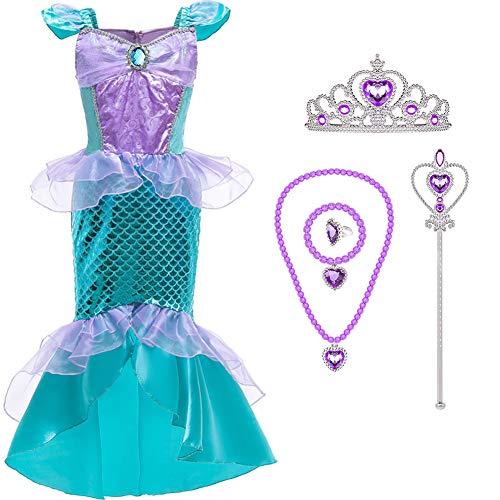 Tacobear Ariel Sirena Disfraz Niña con Princesa Joyas Tiara Varita Mágica Princesa Ariel Sirena Vestidos Ropa Princesa Disfraz para Niña Halloween Cosplay Carnaval (140cm)