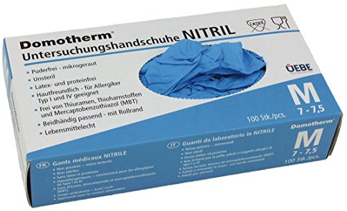 Domotherm Nitril Untersuchungshandschuhe M (Größe 7 - 7,5), 100 Stück Gummihandschuhe