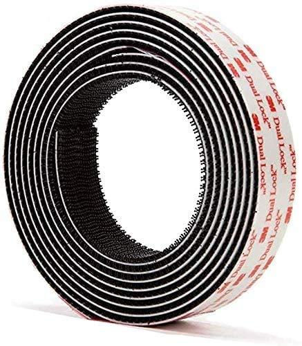 3M Dual Lock SJ3550 (25,4mmx1m) 5X stärker als Flauschband und Hakenband, Klettband Klebeband Schwarz, selbstklebender flexibler Druckverschluss, mit Box Cutter (1 Stck)
