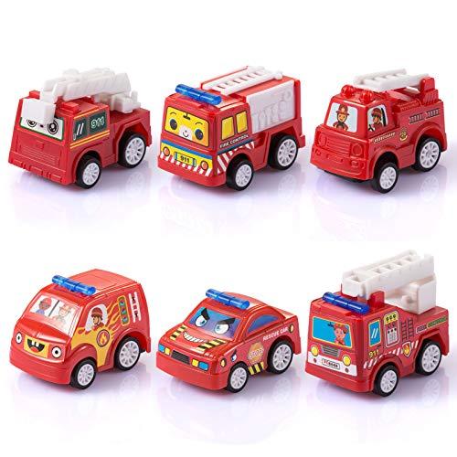 Fontien 6tlg Feuerwehrautos Set Feuerwehr Spielzeugautos Autos Fahrzeuggruppe für Kinder ab 3 Jahren (MEHRWEG)