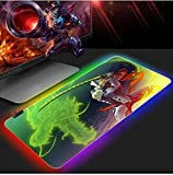 Mouse Pads RGB Gaming Mouse Pad Green Dragon Anime Large Extended Soft LED with 14 Lighting Modes Non Slip Base,Waterproof Keyboard Pad Desk Mat for Gamer,Home Office 700X400Mm