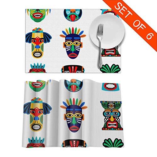 Beryl Shop Iconos de máscara zulú o Azteca Manteles