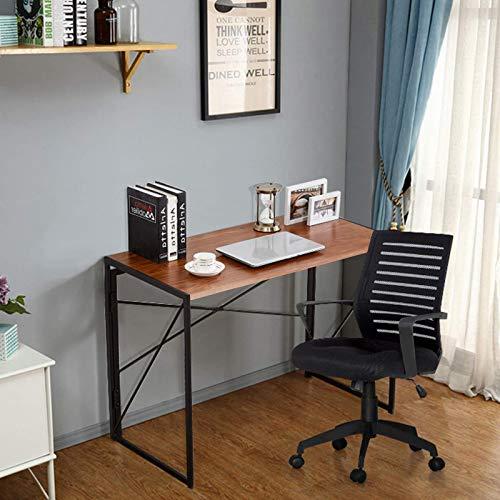 JOHNHARO Escritorio plegable para ordenador, escritorio de 40 pulgadas para espacios pequeños, mesa de marco de metal, fácil montaje para oficina en casa (100 x 50 cm, marrón)