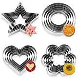 Cookie Cutters, Orpey 20 Pieces Cookie Cutters Set Stainless Steel Multi-Size Biscuit Cutters Sandwich Fruit Shape Cutter Heart Star Circle Flower Shaped Pastry Baking Cutters
