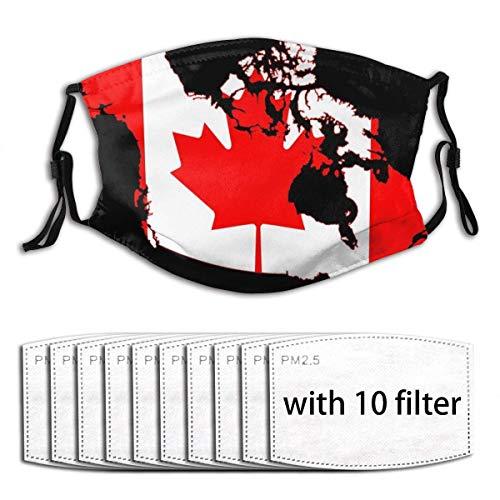 seasonsun Nonbrand Unisex Full-Coverage Tube Face Mask Bandanas UV Protection Neck Gaiter Headband, Canadian Flag Map