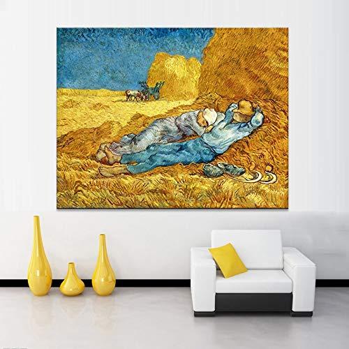 DSGTR Cuadro de Pintura al óleo Pintado a Mano/Siesta de Van Gogh Famoso, Usado en/Arte de Pintura acrílica | Lienzo | Color único
