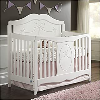 Pemberly Row 4-in-1 Convertible Crib in White - Easily Converts to Toddler Bed Day Bed or Full Bed, Fixed Side, Three Level Adjustable Mattress Height