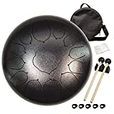 Steel tongue drum 13-note 12-inch tongue drum note percussion steel drum instrument Portable drum set, with school bag, music book, mallets, mallet stand, finger cots