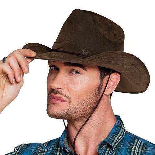 Boland 04351 - Hut Utah für Erwachsene, Kunstleder, Dunkelbraun, Cowboyhut, Westernhut, Cowboy, Ranger, wilder Westen, Kopfbedeckung, Accessoire, Motto Party, Karneval