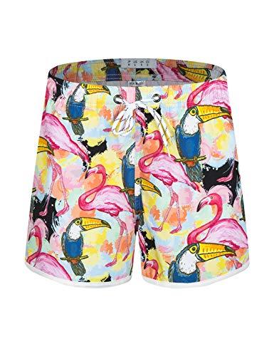 APTRO Damen Badeshorts Kurze Badehose Strand Wassersport Shorts Boardshorts UV Schutz Sommer Shorts Bunte Flamingo WS216 L