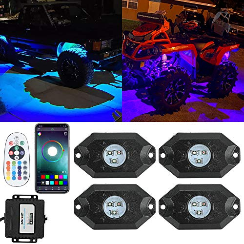 SUNPIE RGB LED Rock Lights -4 Pod Lights with Phone App/Remote Control & Timing & Music Mode & Flashing & Automatic Control Neon Lights Under Off Road Truck SUV ATV
