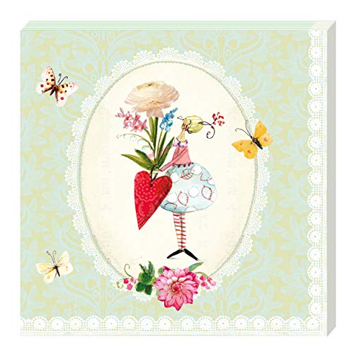Grätz Verlag 20 Stück Servietten, grün, Spitze, Retro, Vintage mit Blumen und Schmetterlingen, quadratisch mit Spitze, Herz, grün, weiß, gelb, rot