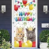 Cat Happy Birthday Banner Backdrop Photo...
