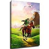 The Legend of Zelda Breath of the Wild Home Decor Wall Art Decor – 61 x 91 cm Video Game Gaming The Legend of Zelda Pintura para decoración de pared del hogar estirada y enmarcada