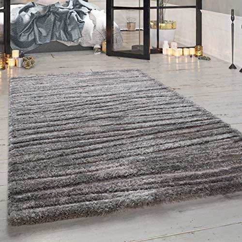 Paco Home Hochflor-Teppich, Weicher Shaggy Für Wohnzimmer Mit Meliertem Design, In Grau, Grösse:80x150 cm